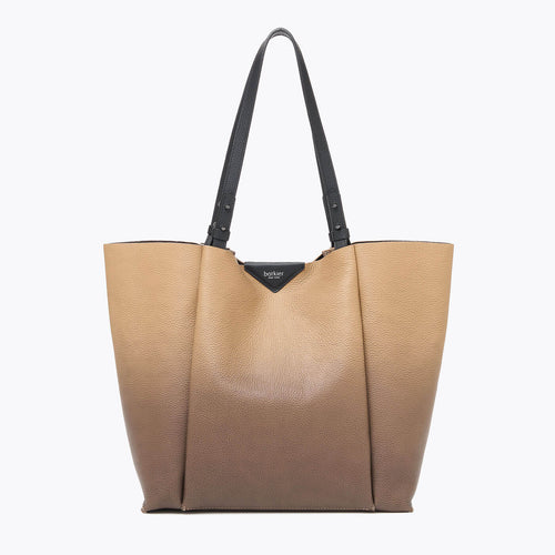 botkier allen top handle bucket in black and hazelnut brown gradiant leather