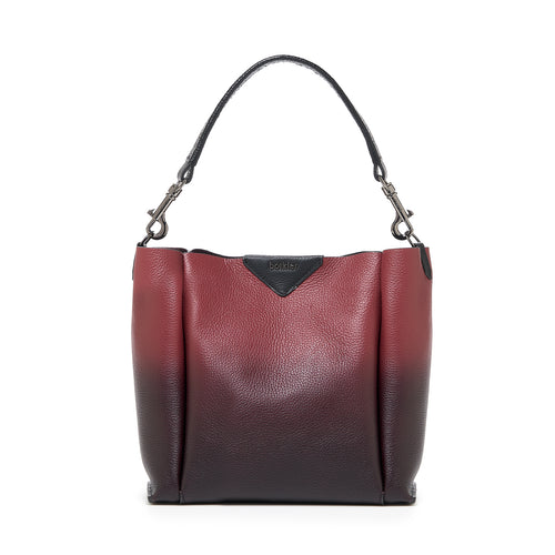 botkier allen top handle bucket in cordovan red