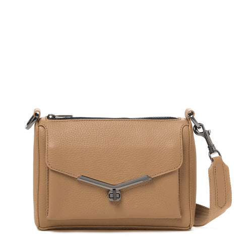 valentina front clap crossbody in hazelnut brown