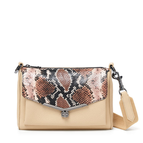 valentina front clap crossbody in beige with brown nake flap