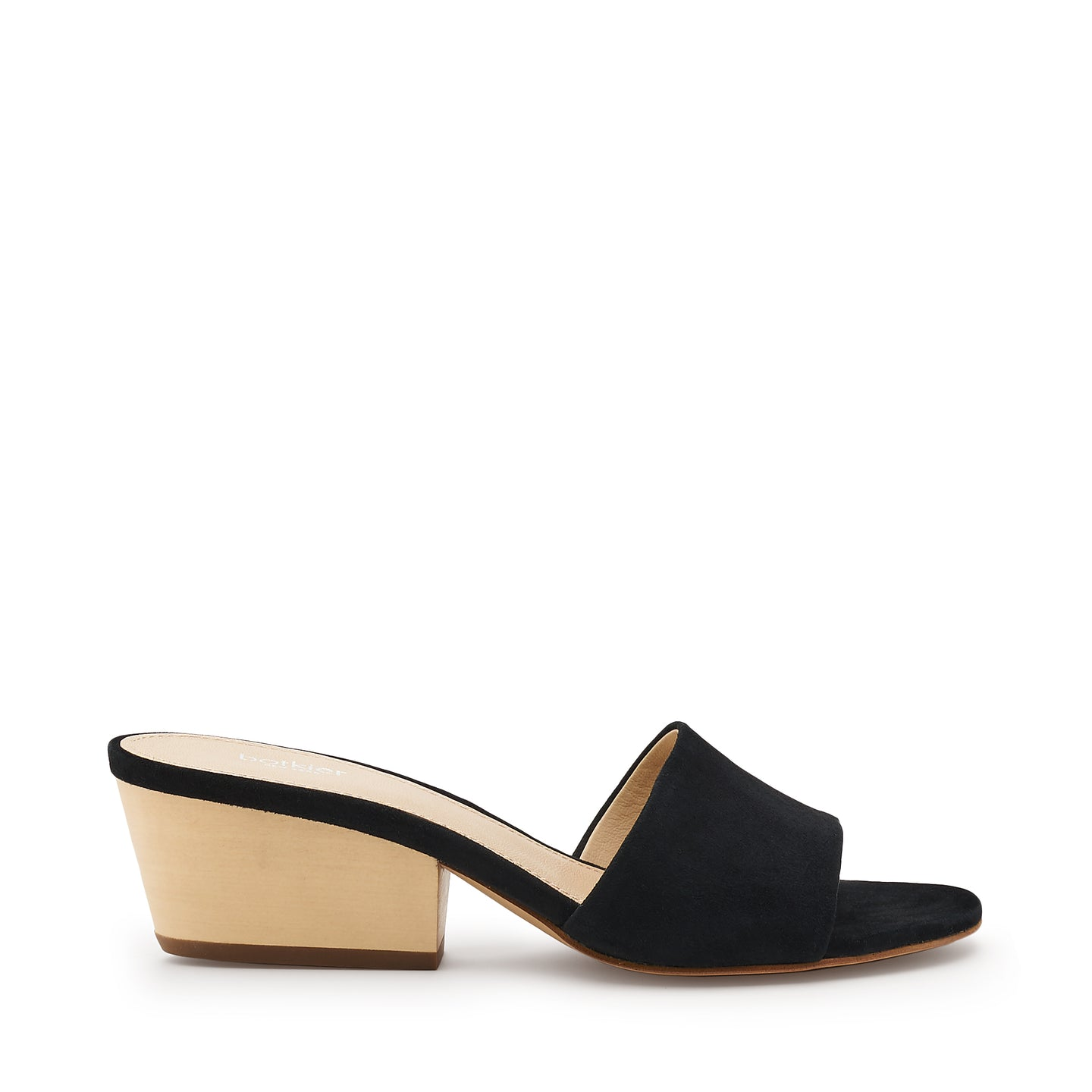 botkier carlie wood low heel slip on sandal mule in black