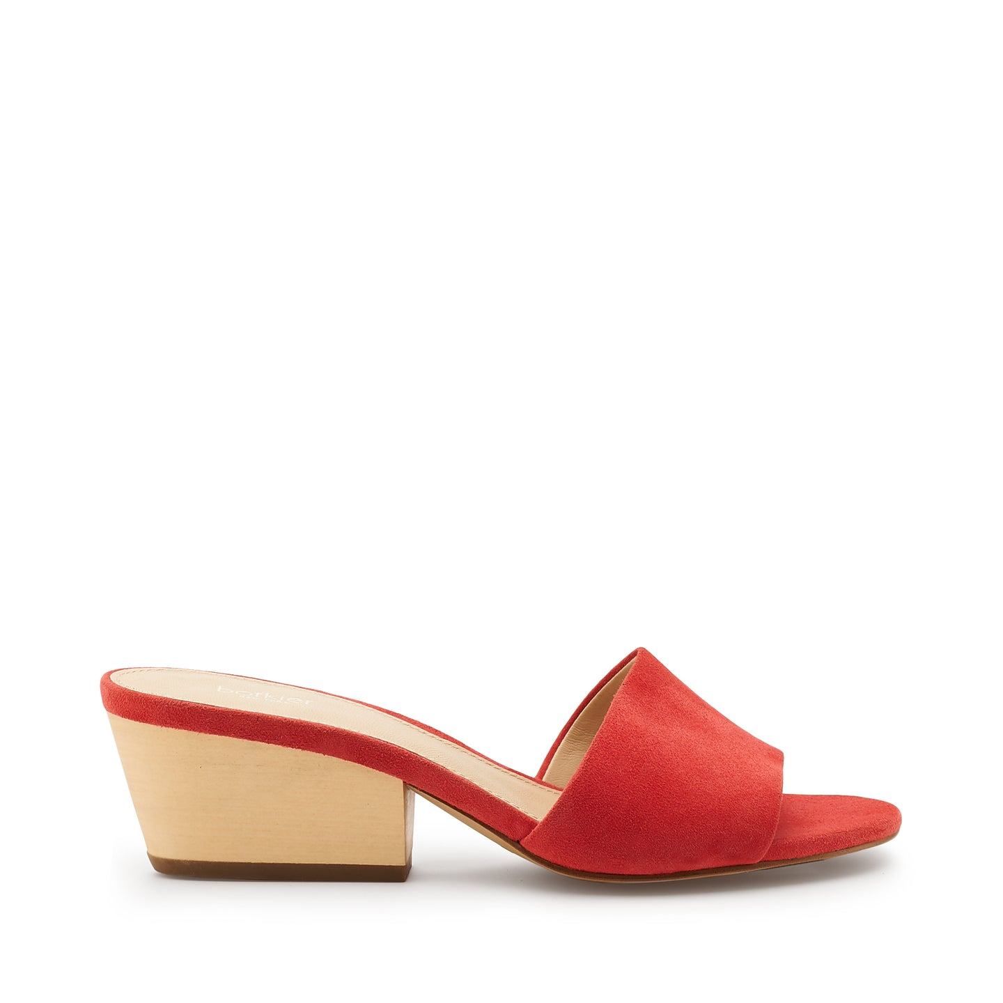 botkier carlie wood low heel slip on sandal mule in coral orange
