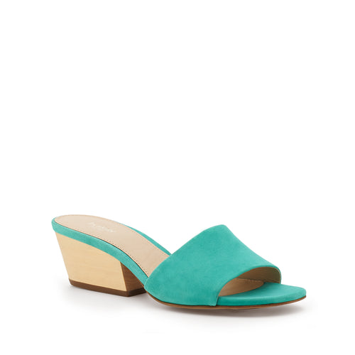 botkier carlie wood low heel slip on sandal mule in marina blue Alternate View