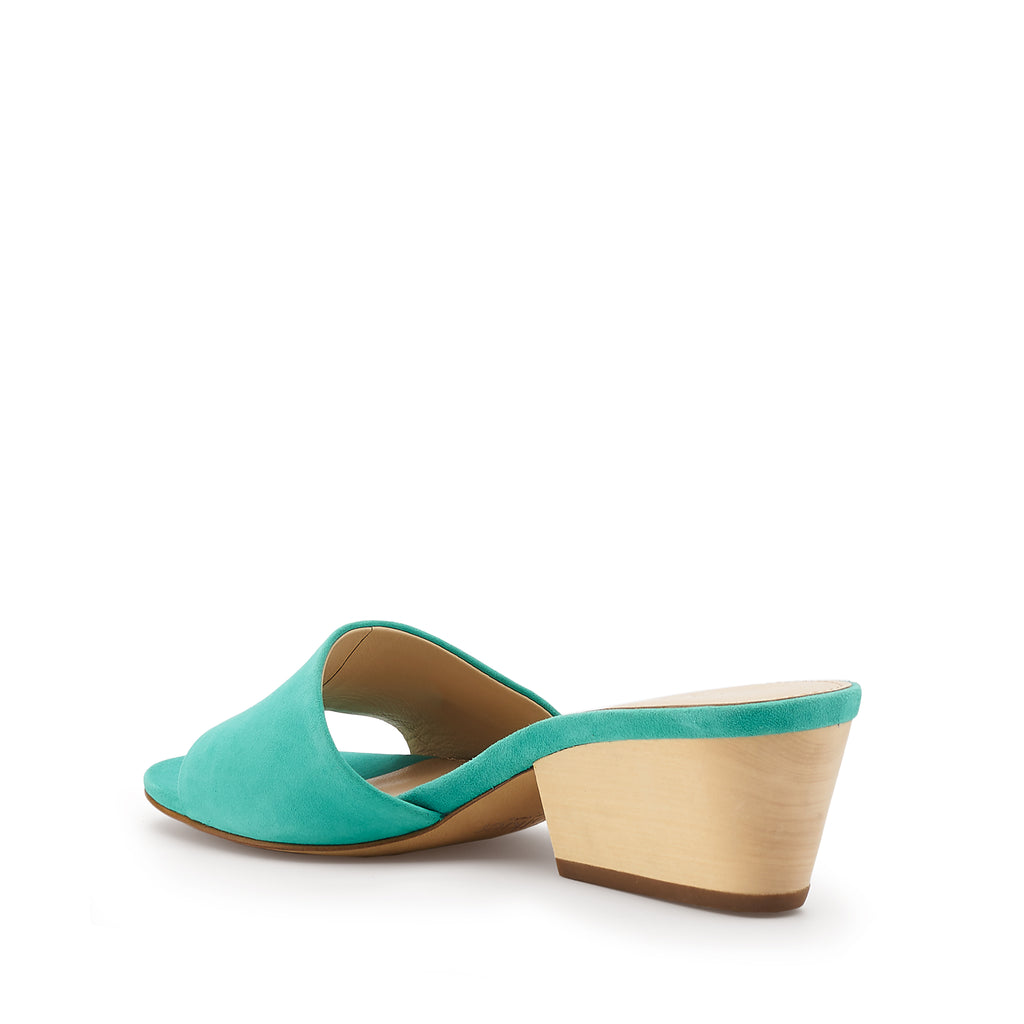 botkier carlie wood low heel slip on sandal mule in marina blue