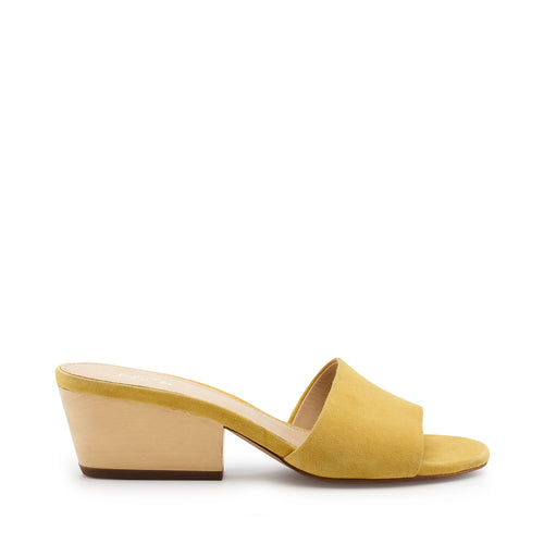 botkier carlie wood low heel slip on sandal mule in pineapple yellow
