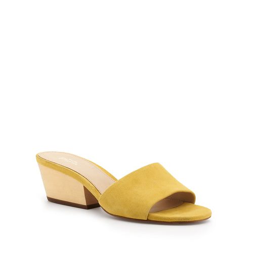 botkier carlie wood low heel slip on sandal mule in pineapple yellow Alternate View