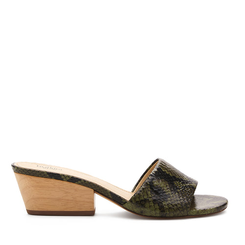 botkier carlie wood low heel slip on sandal mule in matcha green snake