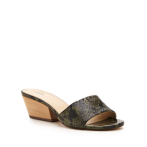 botkier carlie wood low heel slip on sandal mule in matcha green snake Alternate View