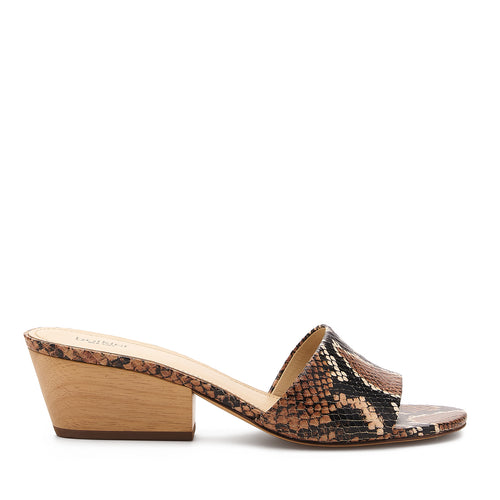 botkier carlie wood low heel slip on sandal mule in natural snake
