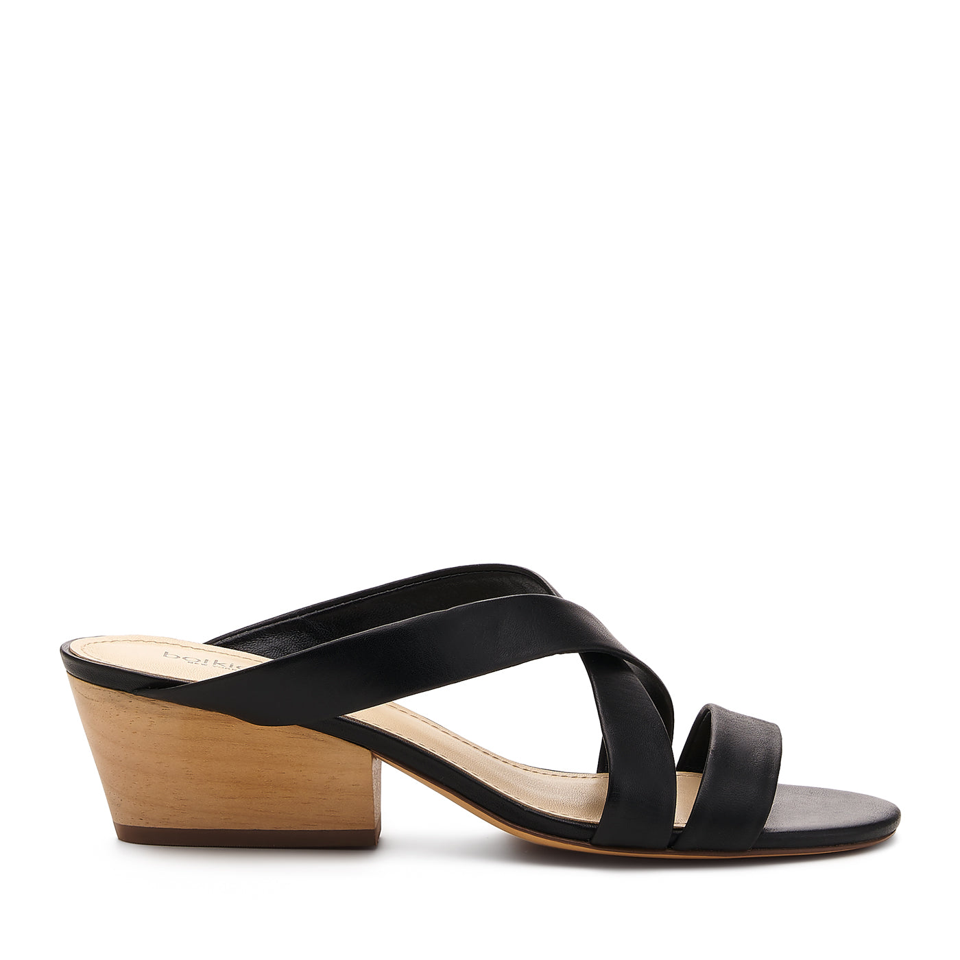 botkier cecile wood low heel strappy slide sandal in black