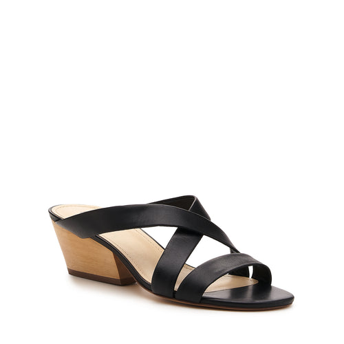 botkier cecile wood low heel strappy slide sandal in black Alternate View