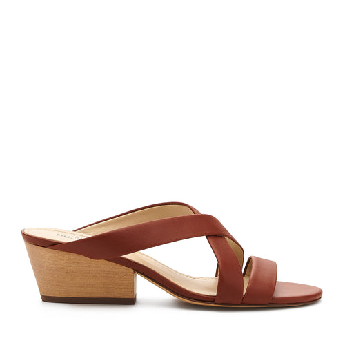 botkier cecile wood low heel strappy slide sandal in cognac brown