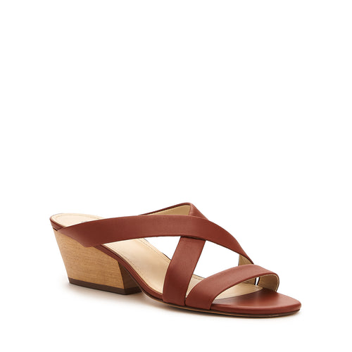 botkier cecile wood low heel strappy slide sandal in cognac brown Alternate View