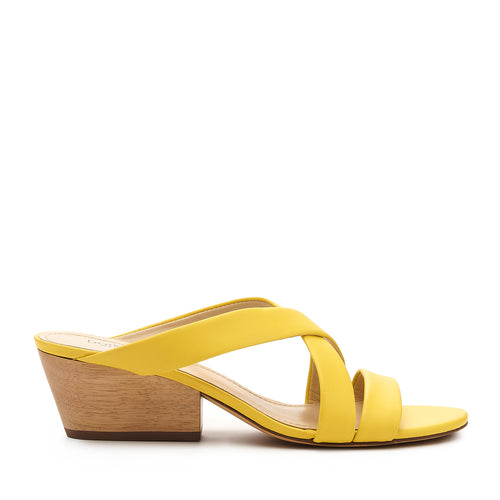 botkier cecile wood low heel strappy slide sandal in sunburst yellow