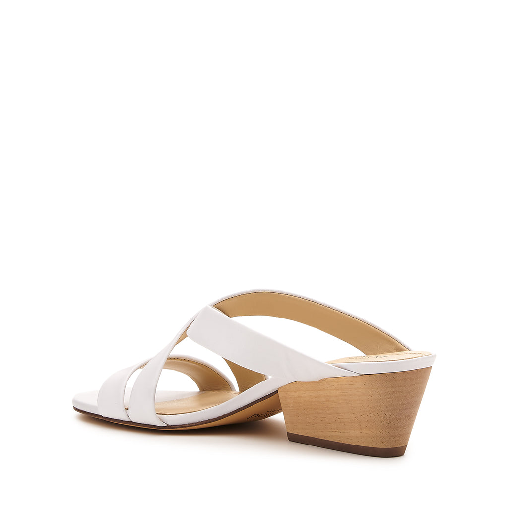 botkier cecile wood low heel strappy slide sandal in white