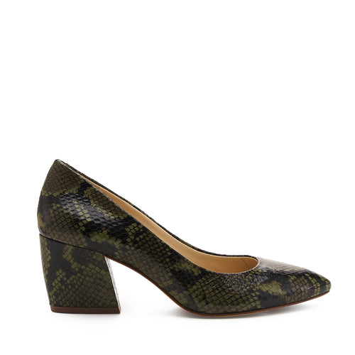 botkier stella almond toe low heel pump in matcha green snake