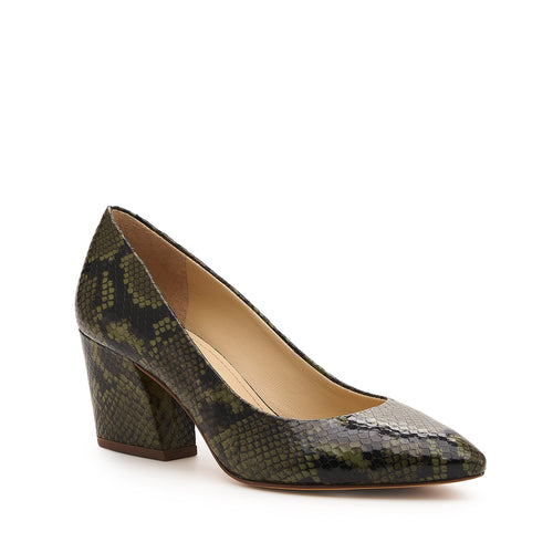 botkier stella almond toe low heel pump in matcha green snake Alternate View