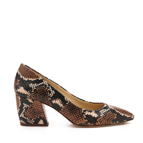 botkier stella almond toe low heel pump in natural snake