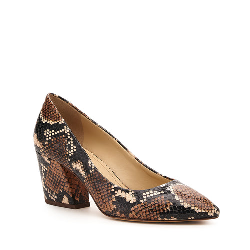 botkier stella almond toe low heel pump in natural snake Alternate View