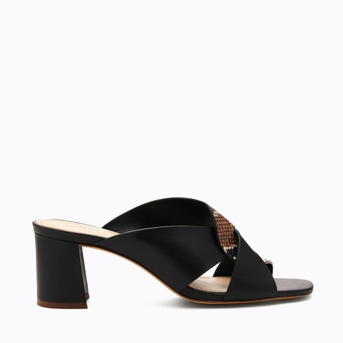 botkier ulla cross strap low heel mule in black and natural snake
