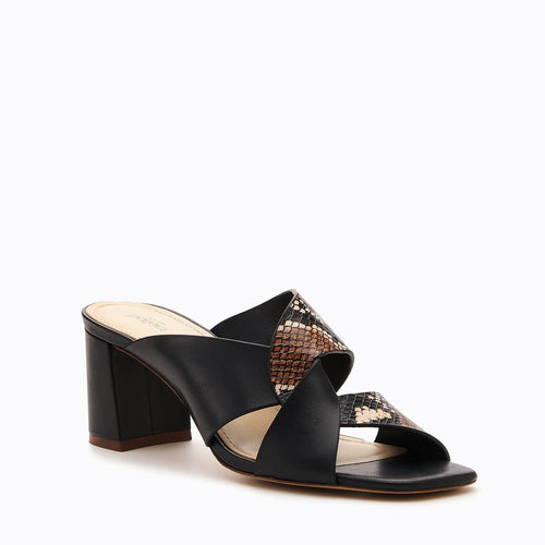 botkier ulla cross strap low heel mule in black and natural snake Alternate View