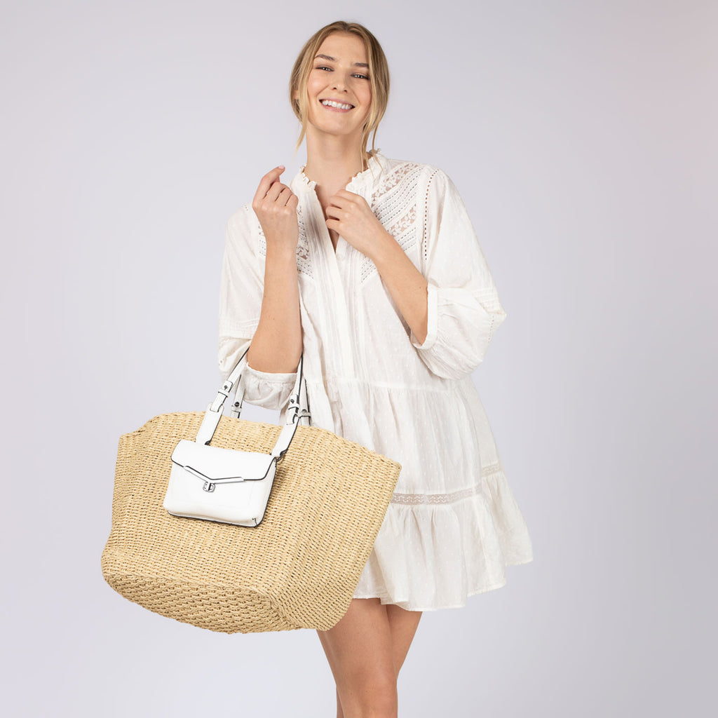 botkier valentina straw tote in natural with marshmallow trim