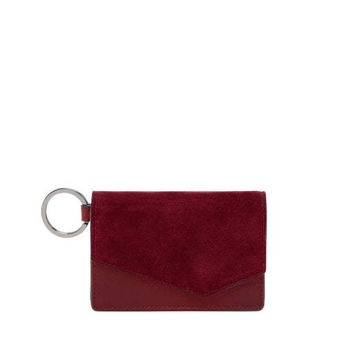 botkier cobble hill card case in bordeaux red