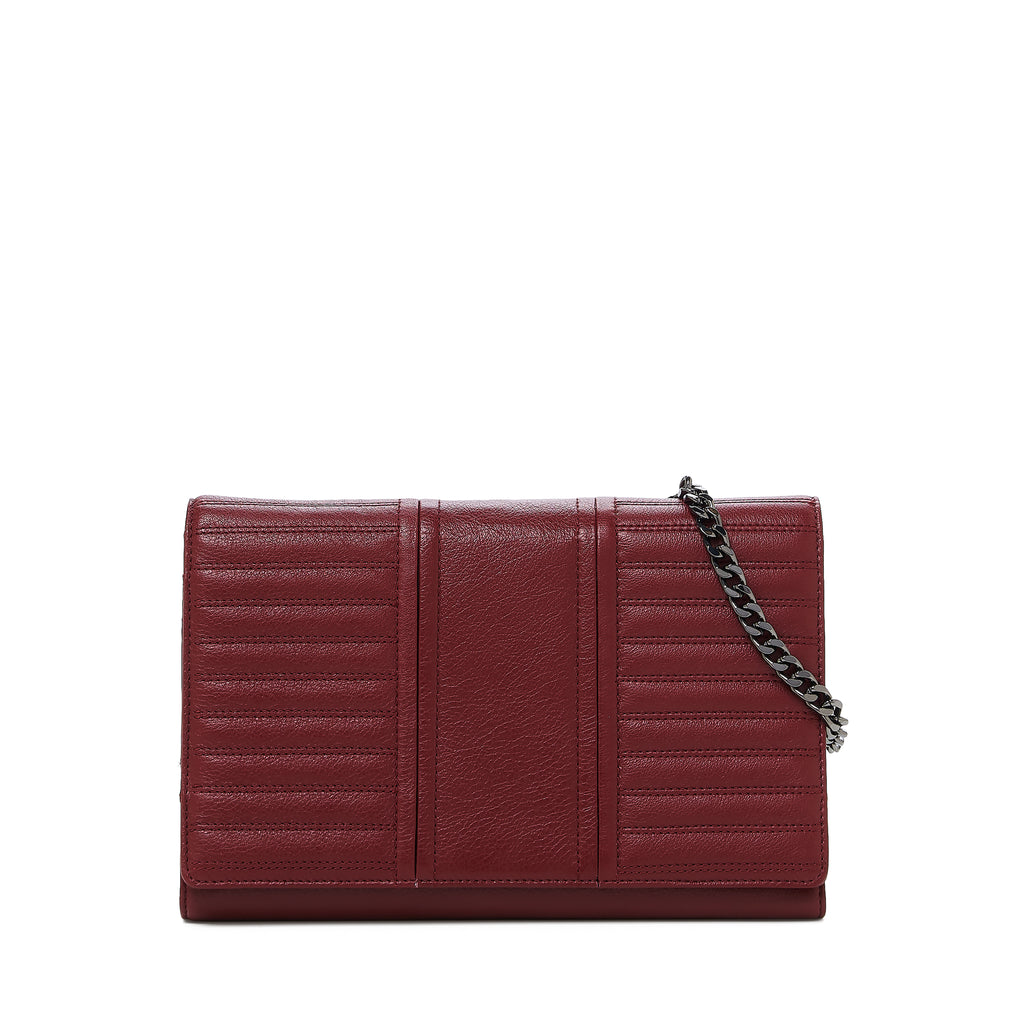botkier moto wallet on a chain in bordeaux red