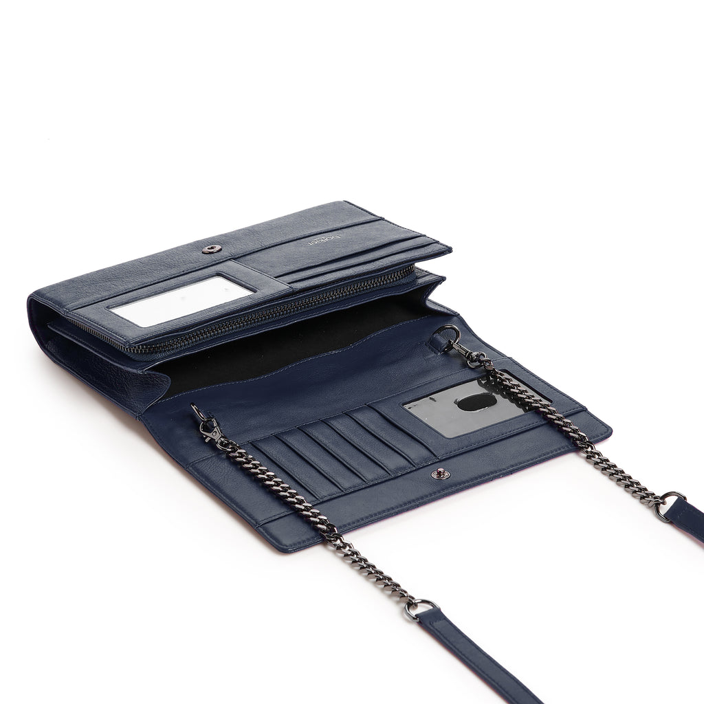 botkier moto wallet on a chain in winter navy