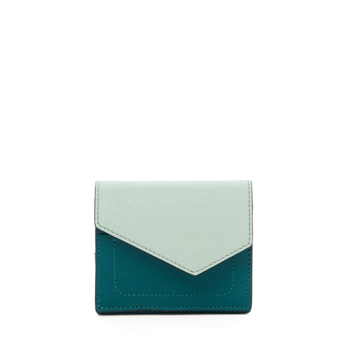 botkier cobble hill mini wallet in emerald combo