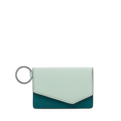 botkier cobble hill card case in emerlad green combo