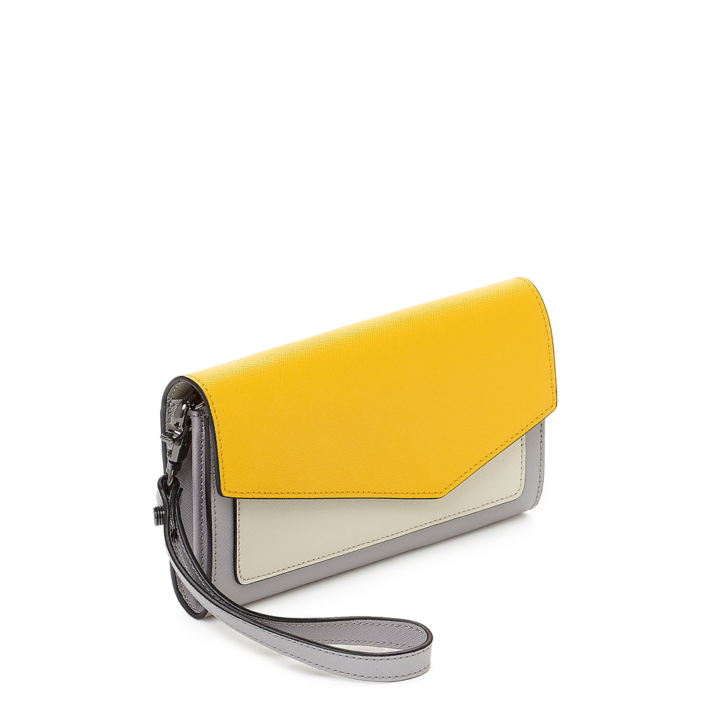 botkier cobble hill flap wallet in marigold and grey