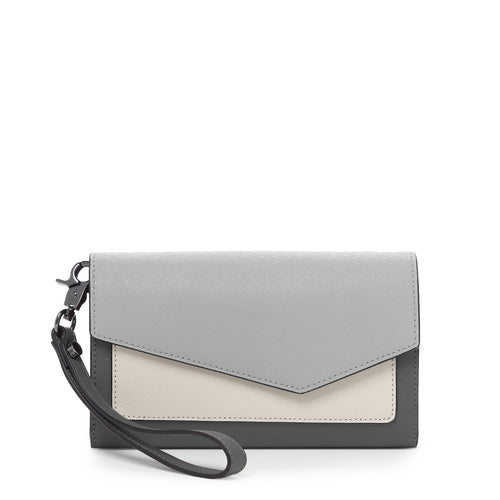botkier cobble hill flap wallet in pewter grey combo