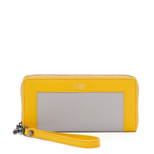 botkier park slope zip around wallet in marigold yellow and grey combo