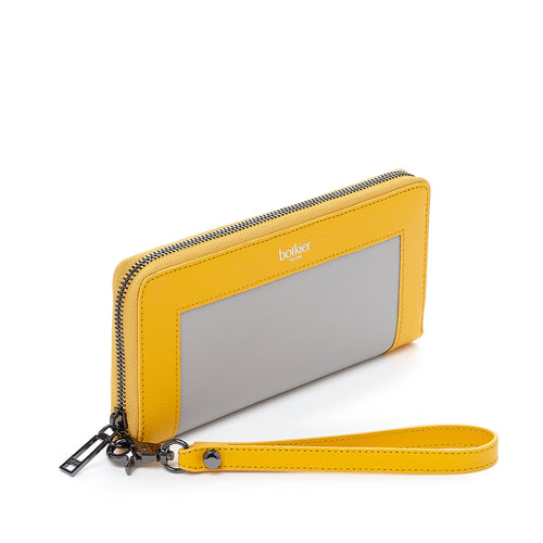 botkier park slope zip around wallet in marigold yellow and grey combo Alternate View