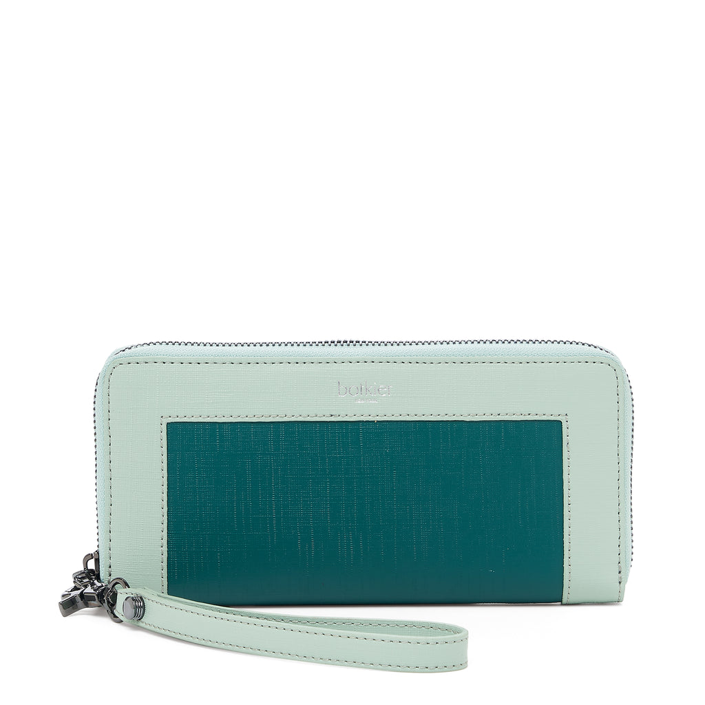 botkier park slope zip around wallet in emerlad green combo
