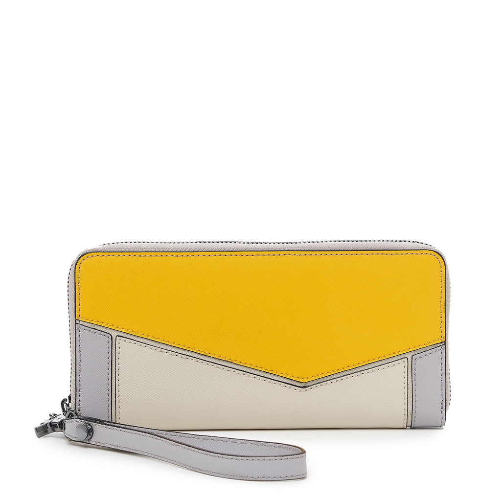 botkier cobble hill zip around wallet in marigold yellow and grey combo