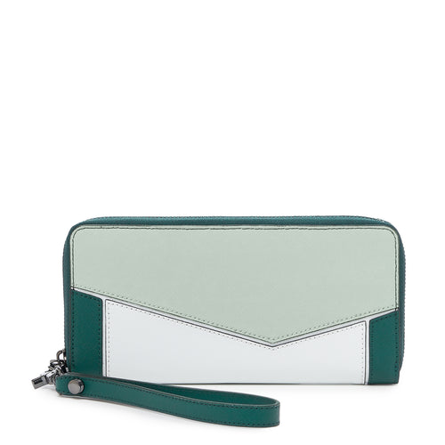 botkier cobble hill zip around wallet in emerald green and white combo