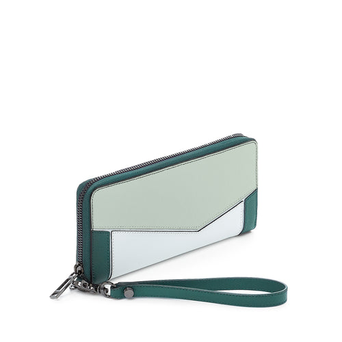 botkier cobble hill zip around wallet in emerald green and white combo Alternate View