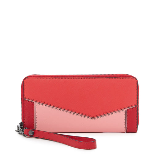 botkier cobble hill zip around wallet in pepper red combo
