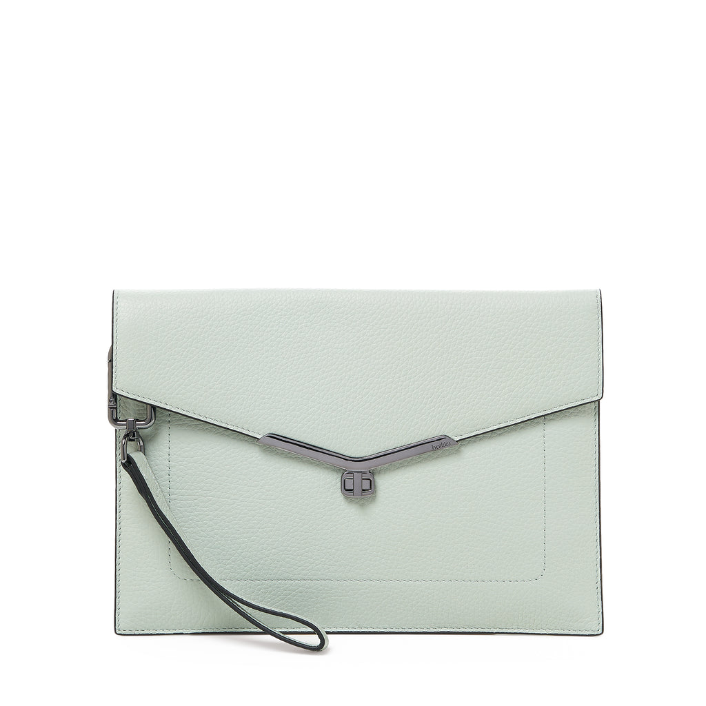 botkier valentina flap front clasp clutch in soft sage green