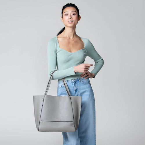 botkier soho zipper detail tote in soft grey Alternate View