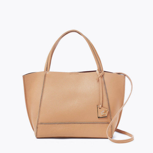 botkier soho bite size zipper detail tote satchel in camel brown