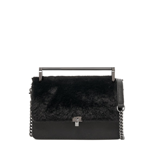 botkier lennox metal top handle crossbody in black with black faux fur flap