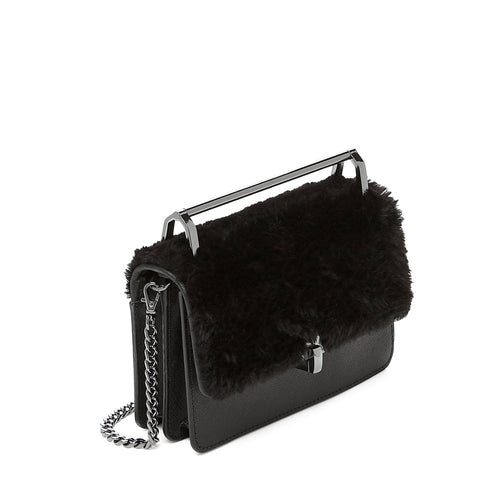 botkier lennox metal top handle crossbody in black with black faux fur flap Alternate View