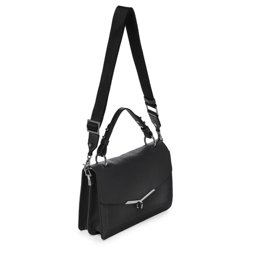 botkier valentina flap front clasp satchel in black Alternate View
