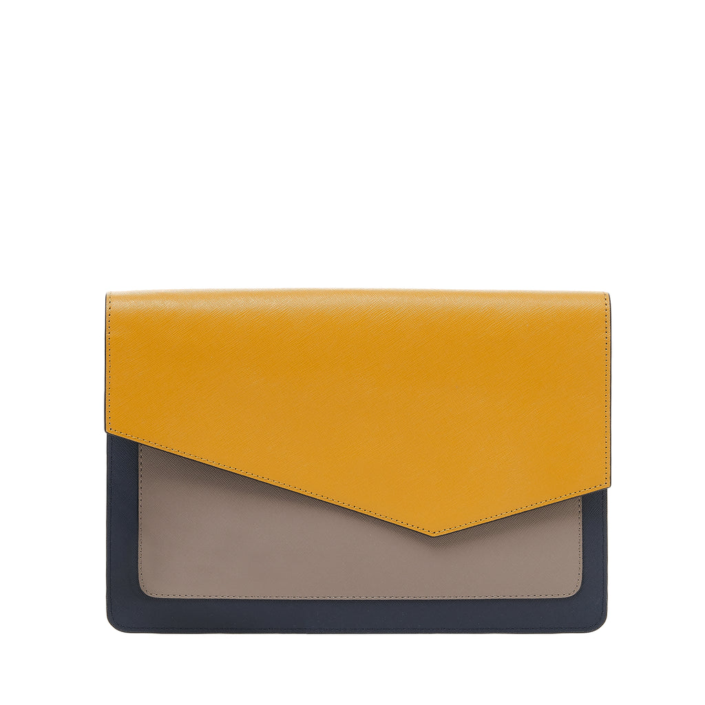 cobble hill flap clutch in golden combo