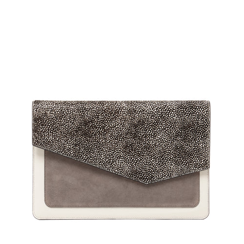 cobble hill flap clutch in snow fur haircalf