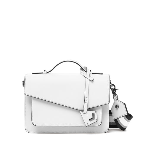 botkier cobble hill structured asymetric flap crossbody in chalk white