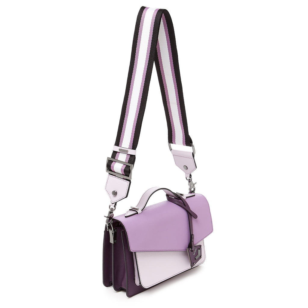 botkier cobble hill structured asymetric flap crossbody in dark, medium, and light purple colorblock